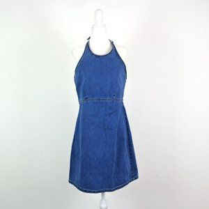 Vintage 90's Old Navy Denim Halter Shift Dress